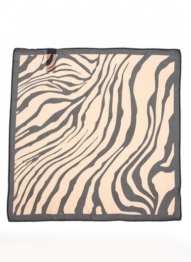 Monamoda Zebra Desenli Fular Camel